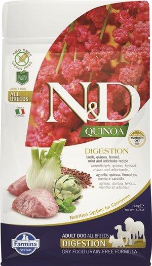 N&D QUINOA DIGESTION с агнешко месо храна за кучета в зряла възраст от всички породи